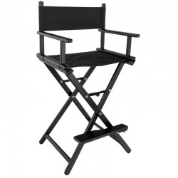 MAKE-UP CHAIR LOOK ALUMINUM WITH BLACK HEADREST