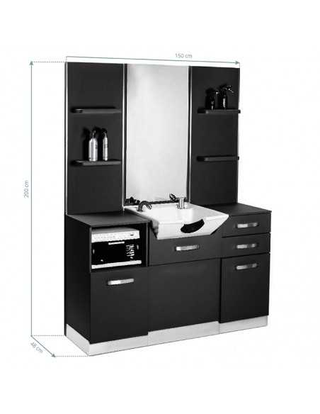 GABBIANO HAIRDRESSING CONSOLE B085 BLACK WITH A SINK