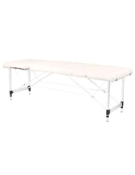 Table de Massage  126960 TABLE DE MASSAGE PORTABLE CONFORTABLE ALUMINIUM 2 SECTIONS CRÈME