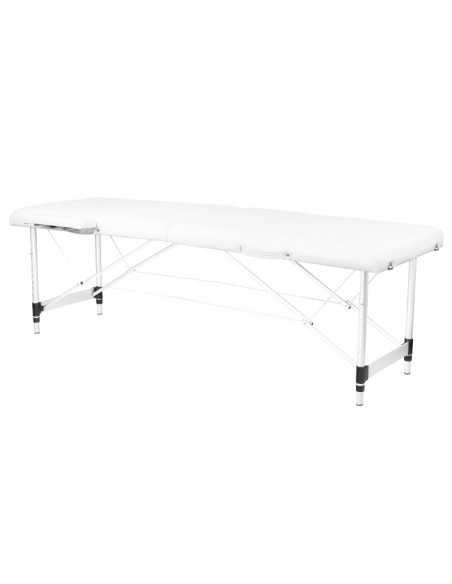 Table de Massage  126962 TABLE DE MASSAGE PORTABLE CONFORTABLE ALUMINIUM 2 SECTIONS BLANC