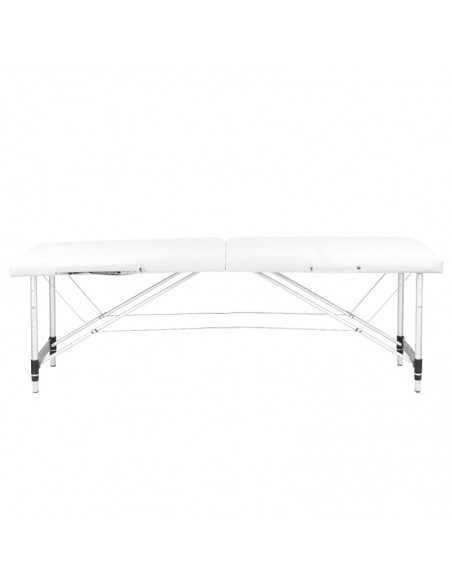 COMFORTABLE 2 SECTION WHITE ALUMINUM MASSAGE TABLE