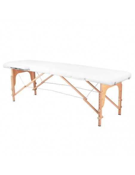 Table de Massage  126965 TABLE DE MASSAGE PLIANTE BOIS CONFORT 2 SECTIONS BLANC