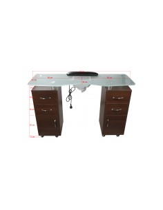 Double column manicure table with vacuum cleaner