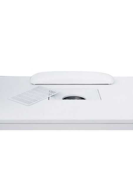 High-end white manicure table with vacuum cleaner and led screen